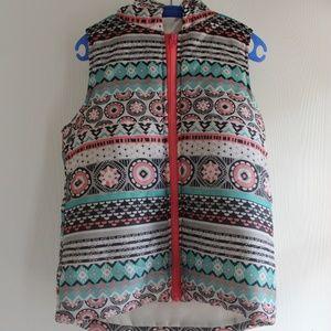 One Step Up Puffer Girl M (10/12) Tribal Vest Hood